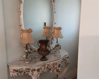 Vintage  Matching Italian detailed wood wall side table and Oval Wall Mirror.  Small Capodimonte night light lamps.