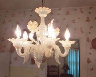 Very rare vintage white hand blown Murano Venetian Glass  Epergne Chandelier Ceiling Lamp. Circa 1950s.