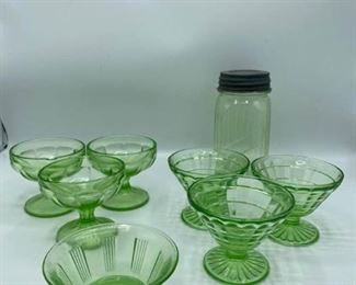 Assorted Green Glass