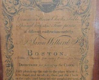 Paul Revere label on Willard clock