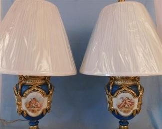 Pair French painted lamps