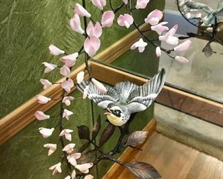 """Boehm Porcelain & Bronze Yellow Throated Warbler  10 1/2"""" with Certificate"""