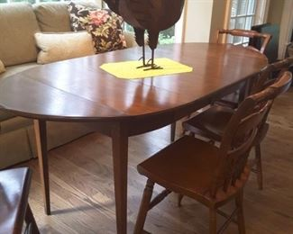 Hitchcock drop leaf table and chairs