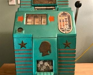 "Jennings ""Bronze Chief"" nickel slot machine in good working condition, circa 1947"