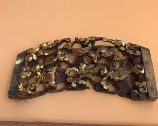 Chinese gold wood wall art antique