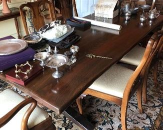 8 chairs and trestle table -