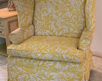 #1 1960s upholstered Wingback Chair Yellow/White42x40x29inHxWxD