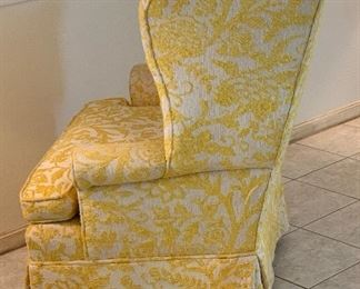 #1 1960s upholstered Wingback Chair Yellow/White42x40x29inHxWxD  #2 1960s upholstered Wingback Chair Yellow/White42x40x29inHxWxD