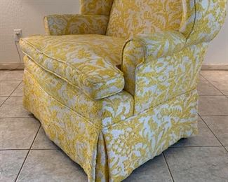 #2 1960s upholstered Wingback Chair Yellow/White42x40x29inHxWxD