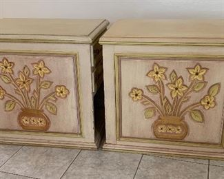 2pc Hand Carved Mexican MCM End Tables/Nightstands PAIR25x20x28inHxWxD
