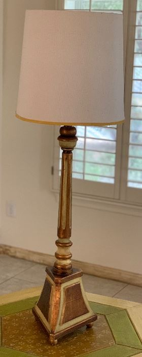 #1 1960s Jeanne Valentine Mexican MCM Hand Carved Table Lamp43in H x 12.5in Diameter