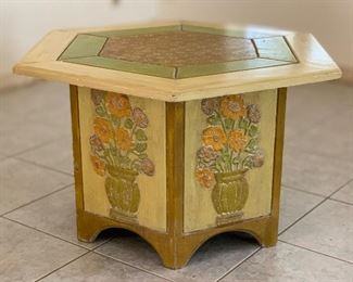 1960s Hand Carved Mexican MCM Hexagon End/Accent Table19x29x34inHxWxD