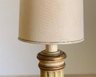 #3 1960s Jeanne Valentine Mexican MCM Hand Carved Table Lamp Short Column30in H x 13in Diameter