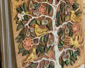 1960s Paper Mache Tree of Life Wall Art Los Gatos S.M. Allende40x28x1.5inHxWxD