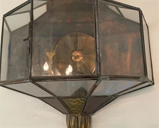 2pc Mexico Punched Copper/Brass Glass Sconces PAIR21x12x6inHxWxD