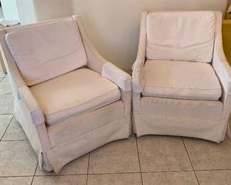 2pc 1960s White Chairs PAIR30x26x31inHxWxD