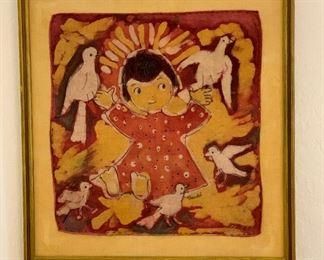 *Original* Textile Art Vintage Mexico  Trudi22x21x1inHxWxD
