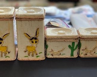 4pc Artist Decorated Lincoln Beautyware Canister SetLargest: 9x5.5x6HxWxD
