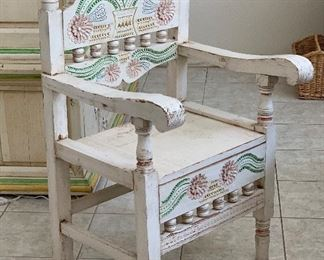 Hand Carved Mexican Rustic Accent  Chair40.5x23x21.5inHxWxD