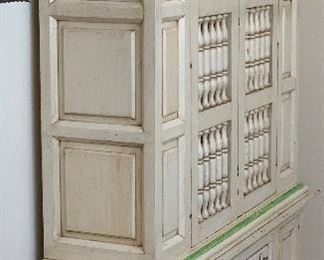 Hand Painted Mexican Rustic Hutch Cabinet78x60x17.5inHxWxD
