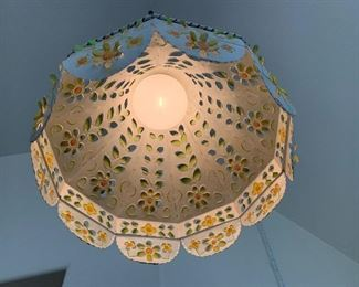 Punched Tin Vintage Mexican Hanging Lamp Folk Art18in H x 16in Diameter