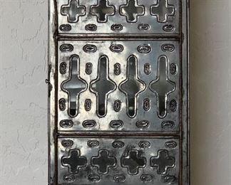 As-Is Mexican Punched Tin Wall Mount Cab16x10x7inHxWxD