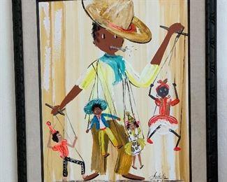 *Original* Art Chabela Elizabeth C. Haas Marionette Painting38x32x2inHxWxD