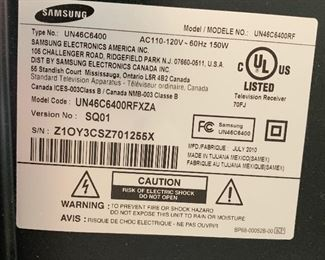 Samsung 46IN 1080P HD TV UN46C6400RFXZA28X43X11inHxWxD