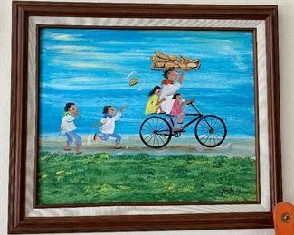 *Original* Art Chabela Elizabeth C. Haas Bread Delivery Painting21x25x2HxWxD