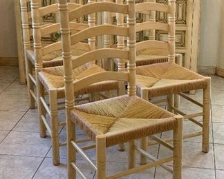 5pc Hand Painted Ladder Back Rush Seat Dining Chairs43x18x18 Seat: 9inHxWxD
