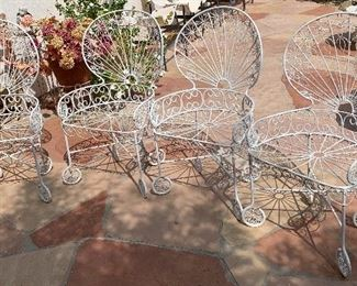1960s MCM Wrought Iron Peacock Patio set Tile top table w/ 4 ChairsTable:  26.5in H x 35.5 diameter. Chairs:39.5x 22x20 inHxWxD