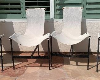 Set of 7 Vintage Canvas & Metal Patio Chairs37.5in x 26x 27HxWxD
