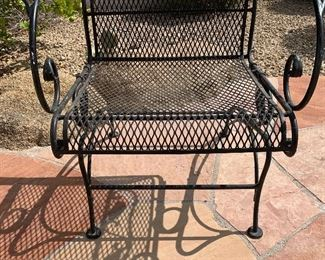 2pc Vintage Wrought Iron Coil Spring Patio Chairs PAIR37.5 x 29x 29 inHxWxD