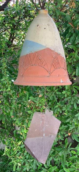 MCM Gattii Pottery Wind Chime  Bell Lg11 in H x 8.5in Diameter