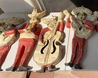 6pc 1960s Mexican MCM Jeanne Valentine Paper Mache Mariachi Band  w/ Moon33 inches long tallest one