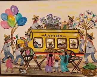 *Original* Art Chabela Elizabeth C. Haas Rapido Coach Painting27x33x2inHxWxD
