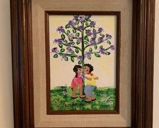 Small *Original* Art Chabela Elizabeth C. Haas  Boy/Girl Tree Painting12x10x1inHxWxD