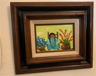 Small *Original* Art Chabela Elizabeth C. Haas  Woman on Chair Flowers Painting12x14x1.5inHxWxD