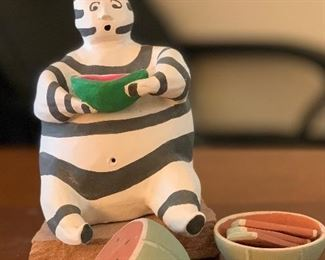 Native American Ceramic Figurine Clown Watermelon Koshare9x6x6inHxWxD
