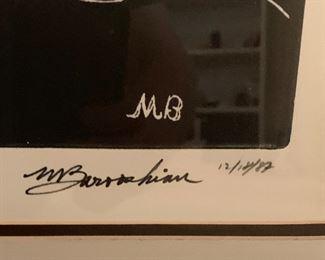 *Signed* Martin Barooshian Etching Planets33x26x.5inHxWxD