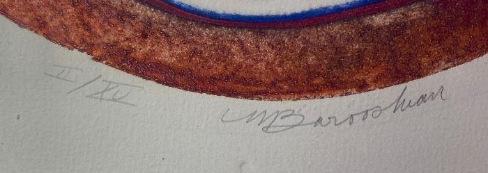 *Signed* Martin Barooshian Etching Intaglio Vesta II/XV28.5x24x.5inHxWxD