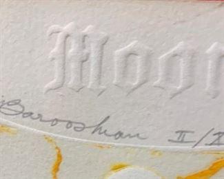 *Signed* Martin Barooshian Etching Intaglio Moon II/XV22x22x.5inHxWxD