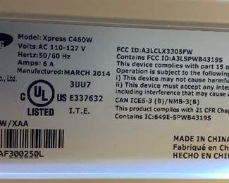 Samsung Xpress C460W Multifunction Laser Color Laser Printer11.5x16x13inHxWxD