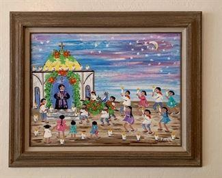 *Original* Art Chabela Elizabeth C. Haas Church Ceremony Painting25x30.5x.5inHxWxD