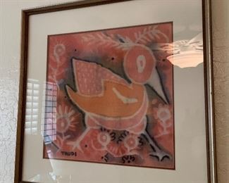*Original* Textile Art Bird Trudi21x21x1.5inHxWxD