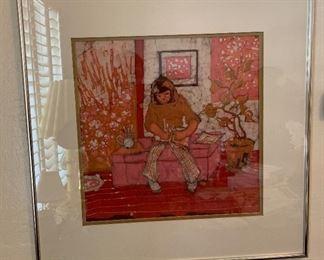 *Original* Batik Art Krissi's Room Katalin Ehling24.5x25.5x.5inHxWxD