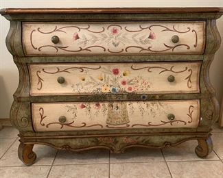 Hand Painted Mexican Bombe Chest Dresser34x45x20inHxWxD