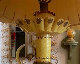 Tin Mexico Folk Art Lamp36in H x 20in Diameter