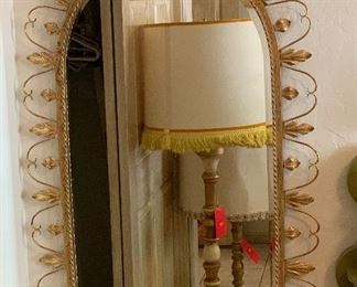 Vintage Italian Worn Gold Mirror40x25.5x1.5inHxWxD