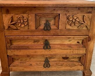 Carved Mexican Rustic Nightstand Single21x25x17.5inHxWxD